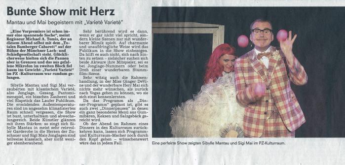 """Presse / Show """"Vergiss Vegas"""" / PZ-KulturRaum / Lauf a. d. Pegnitz / 22.06.2017"""